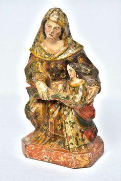 Imagem de Santana Mestra e de Nossa Senhora, entalhada em madeira, policroma e dourada. Minas Gerais, região de Diamantina, fins do século XVIII.