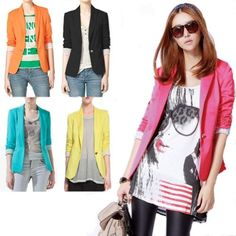 Six Colors New Fashion Women Lady Casual Tunic Foldable Sleeve Blazer Jacket for only $19.50