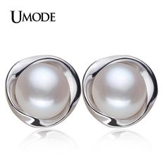UMODE 100% Genuine Brand Pearl Jewelry Natural Pearl Earrings For Women And Girls 925 Sterling Silver Stud Earring Gift AE0023