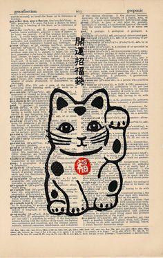 Maneki Neko Good Luck Cat Vintage Asian Print on an by AvantPrint,: