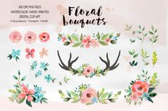 Watercolor Flower Clipart Wedding floral Clip art by DigitalCloud