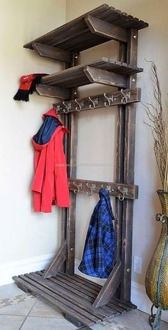 Wooden pallet coat hanger is the most important furniture for any household since it welcomes the visitors. Crafting it inexpensive and with purpose adds utility to its existence and creation. We incorporated several shelves to place items or other belongings while re-transforming the wood pallets. #palletfurnitureshelves