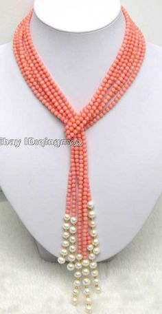 "SALE Long 47"" Natural 4mm Pink round Coral & White Pearl 3 Strands Necklace-9207"