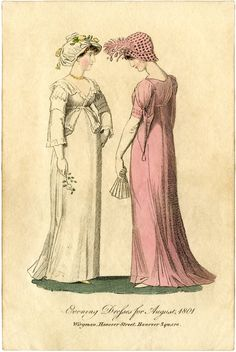 1801 ... a charming Regency Fashion Plate ... a lovely Jane Austen-esque print ... dates to Circa 1801 ... shows two ladies wearing lovely evening dresses. One of them is wearing a white dress, or gown & the other one is wearing a pink one. They both have on bonnets that match their dresses.