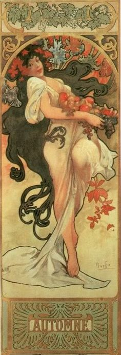 ❤ - Alphonse Mucha | The Seasons, Autumn - 1897.