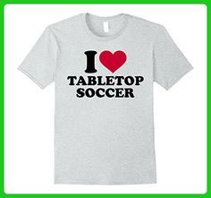 Mens I love tabletop soccer T-Shirt Small Heather Grey - Sports shirts (*Amazon Partner-Link)