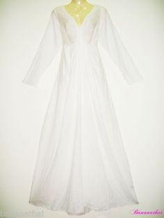 WOMENS LONG SLEEVE MAXI DRESS SEXY DEEP NECK PARTY WEDDING WHITE COTTON M L XL