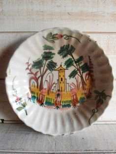 Plato de cerámica, Manises o Lorca, arquitecturas y árboles, siglo XIX