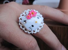 Hello Kitty Cabochon on White Adjustable Doily Ring by Whimsy, $7.00