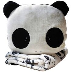 niceEshop(TM) Cute Panda Velvet Plush Coral Fleece Throw Pillow and... ($9.99) ❤ liked on Polyvore featuring home, bed & bath, bedding, blankets, velvet plush blanket, coral bedding, panda blanket, black and white blanket and fleece bedding