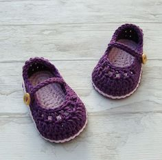 Baby booties mary jane crochet shoes purple and ♡♥ by Ohprettypretty, $20.00