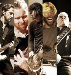 Foo Fighters. (left to right) Chris Shiflett, Nate Mendel, Dave Grohl, Taylor Hawkins, Pat Smear.