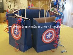 Hey everyone! Sorry, for those who visited today and all you saw were pictures. Silly me forgot to write a little something to go with what . Avengers Birthday, Superhero Birthday Party, 4th Birthday Parties, Boy Birthday, Birthday Ideas, Captain America Party, Captain America Birthday, Anniversaire Captain America, Goodie Bags