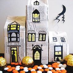 Cool & Creepy Halloween Decorations: Recycled Haunted Houses