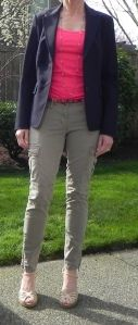 Cargos with a blazer- mom style.