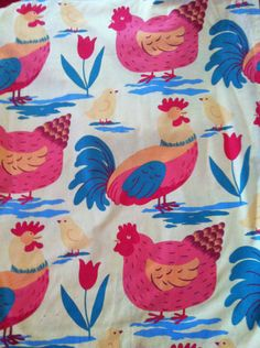 I have this awesome vintage Laura Ashley Hens fabric. Going to make a blind for the kitchen. So cute and cheerful! :)
