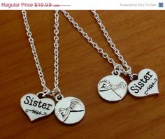 2 Pinky Promise Necklaces 2 Sisters pinky by SummerTreasure