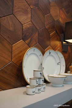 Alternative uses for wood in the kitchen - the Hive tile collection from Jamie Beckwith sports another 2014 Design Trend, the Hexagon