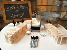 Jenga Guest Book This is pretty much exactly how Id like the spot set up to do it! Love this!