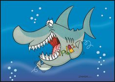 """Cartoon - Higiene do Tubarão, técnica com tinta guache, sobre fundo digital """"Corel Draw"""" - ano de 2003 - Concursos - www.zambaportfolio.blogspot.com.br"""