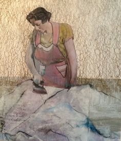 SNOW BOUND DREAMER. Hand colored photo collage 17x23 mixed media, vintage woman.