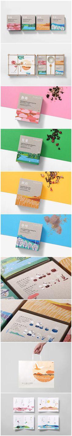 Siidcha Four Season Tea Packaging by Victor Branding Design Branding And Packaging, Tea Packaging, Pretty Packaging, Branding Agency, Tea Design, Label Design, Package Design, Layout, Identity Design