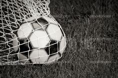 soccer player black and white photography | Soccer Ball in the Net - B&W — Stock Photo © Ben Haslam #2372324