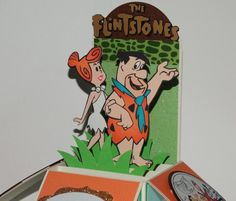 Fred and Wilma Flintstone, Happy Birthday handmade pop up greeting card Fred And Wilma Flintstone, Pop Up Box Cards, Classic Cartoons, Scrapbook Paper, Fun Crafts, Card Stock, Cricut, Happy Birthday, Greeting Cards