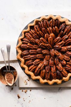 Chocolate Pecan Pie (with Salted Caramel!) — Rachel Korinek – probably Sweet Recipes, Real Food Recipes, Dessert Recipes, Vegan Desserts, Pecan Nuts, Homemade Pie, Sweet Pie, How Sweet Eats, Thanksgiving Recipes