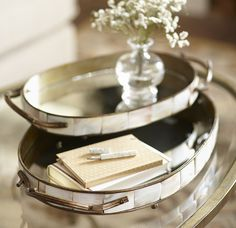 Capiz Oval Trays crafted in iron and bordered with shell tiles from birchlane.com