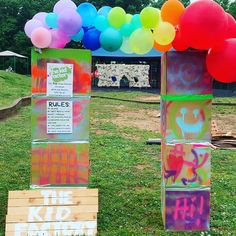 Before and after! ~ ~ ~ #thekidfactory #kidtalks #fieldday #crazyidea #ducttape #thinkoutsidethebox #balloongarland #popupplayground… Field Day, Thinking Outside The Box, Balloon Garland, Duct Tape, Pop Up, Playground, Kid, Dreams, Toys