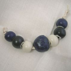 Indigo Blue and White Big Hole Handmade Porcelain Bead Set