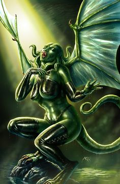 Cthylla - Daughter of Cthulhu by *ArcosArt on deviantART - Demon art Magical Creatures, Fantasy Creatures, Fantasy Fiction, Fantasy Art, Gothic Pictures, Horror Artwork, Dark Images, Demon Art, Halloween Horror