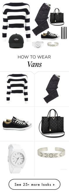 """Black & White Vans"" by ilikewarmhugsolaf on Polyvore featuring Boutique Moschino, Converse and Vans"