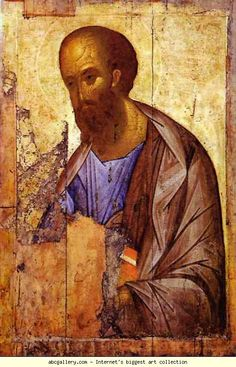 Andrei Rublev. Apostle Paul. Russian Painting, Hand Painting Art, Russian Art, Religious Images, Religious Icons, Religious Art, Byzantine Art, Byzantine Icons, Andrei Rublev