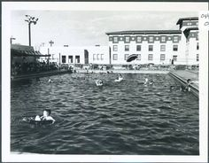 """""""the open-air swimming pool on the texas western campus in the 1960s. texas western was renamed university of texas at el paso (utep) in 1967..."""""""