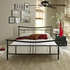 Premier Annika Metal Platform Bed Frame Queen, Black with Bonus Base Wooden Slat System - Walmart.com
