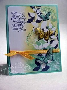 Stampin' Up! Embossed Velum Butterflies w/great tutorial for embossing butterflies; Stampin' Supplies; Papillon Potpourri, Summer Silhouettes, Trust God; Paper: Coastal Cabana, Whisper White CS and Vellum Cardstock; Ink: Coastal Cabana, Night of Navy, Daffodil Delight, Versamark; Accessories: Elegant Butterfly punch, Bitty Butterfly punch, clear EP, sponge wedges, Brayer, Night of Navy marker, Daffodil Delight stitched grosgrain ribbon