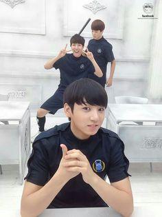 """Once again, Jongkook being normal, J-Hope """"being cute"""" and Jimin plotting murder."""