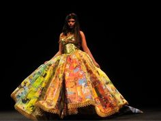 Dress made entirely from children's Golden Books, by Boston-based designer Ryan Novelline,  The bodice is made from the gold spines