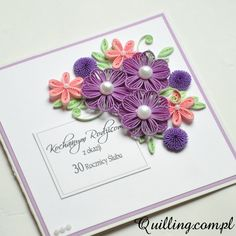 anniversary, greeting card,quilling, handmade, Quilling.com.pl