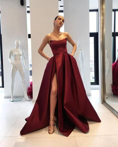 Simple Side Slit Cheap Maroon A-line Long Evening Prom Dresses, Cheap Sweet 16 D. Simple Side Slit Cheap Maroon A-line Long Evening Prom Dresses, Cheap Sweet 16 Dresses, 18364 Gallery Ideas] Split Prom Dresses, Strapless Prom Dresses, Ball Gowns Prom, Satin Dresses, Bridesmaid Gowns, Party Gowns, Party Dress, Homecoming Dresses, Burgundy Bridesmaid