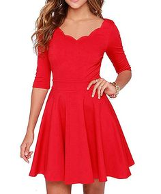 Tengo Women Slim Flared Tunic Wavy Neckline Soft Dress  Price:  $35.98 Sale:  $19.88 You Save:  $16.10 (45%)