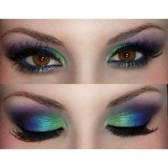 Would be great Halloween makeup for a peacock costume