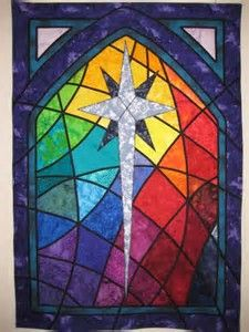 Idea for a Banner or Quilt maybe Etsy Not Available: Custom Church Window Stained Glass Quilted by Great Quiltations Stained Glass Quilt, Stained Glass Panels, Stained Glass Patterns, Christmas Wall Hangings, Christmas Art, Christmas Quilting, Church Banners Designs, Stain Glass Cross, Cross Quilt
