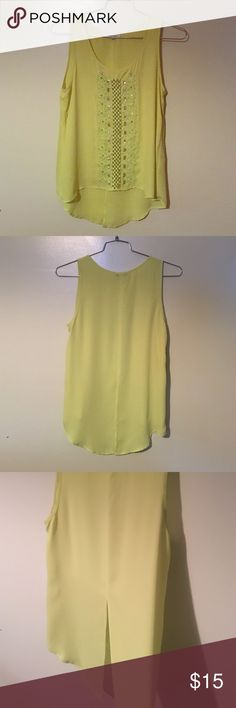 Embellished Tank Lime Green/ yellow embellished tank. Flowy fit with tail split in the back.  Size medium. Never worn. Tops Tank Tops
