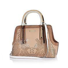 Nude laser cut frame handbag from River Island 94e60f63a3a6e