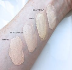 foundation for pale skin - comparison swatches