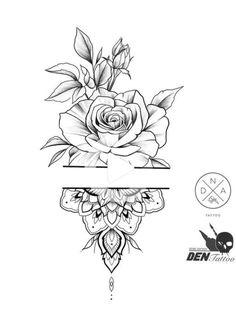 Tatuaje Mandala Floral, Floral Mandala Tattoo, Floral Tattoo Design, Mandala Tattoo Design, Flower Tattoo Designs, Simple Mandala Tattoo, Mandala Tattoos For Women, Tatto Designs, Tattoo Simple