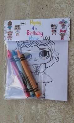 custom Lol surprise inspired birthday party favor bags with coloring designs and crayons/Lol surprise birthday party favors/Lol/doll 7th Birthday Party Ideas, Happy 4th Birthday, Birthday Party Favors, Surprise Birthday, Surprise Cake, Birthday Balloons, Doll Party, Birthday Design, Lol Dolls